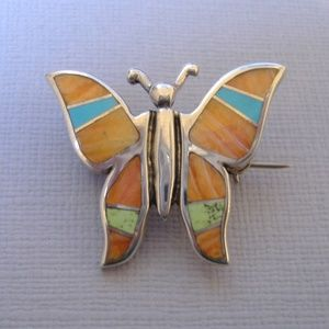 Sunrise Inlay Butterfly Pin Brooch Orange Spiney